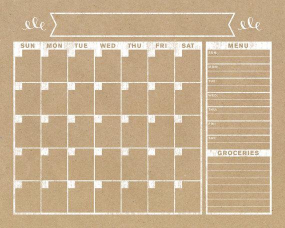 Calendar Horizontal Family Planner Wall Calendar by BlissNotions