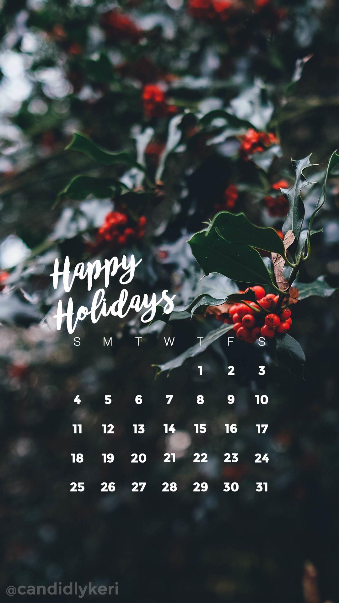 Happy Holiday's holly Christmas festive December calendar