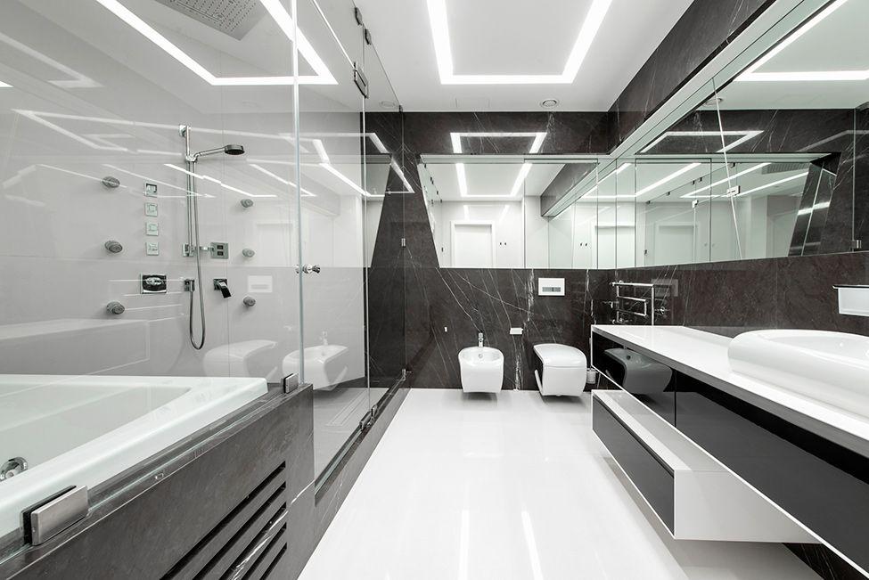 Dise o futurista de departamento dapartamentos for Banos modernos para departamentos