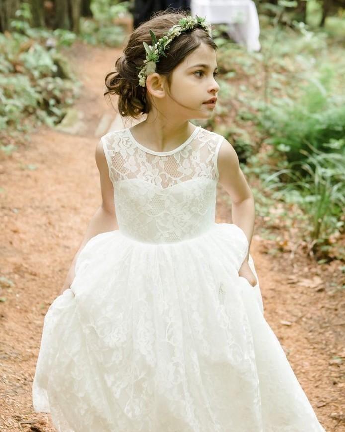 Romantic Beach Country Children White Ivory Lace Flower Girl Dresses