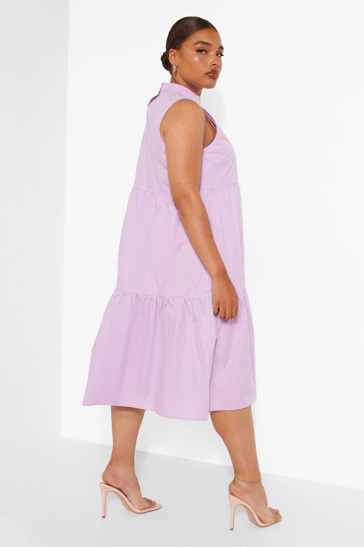 Plus Cotton High Neck Tiered Midi Dress   boohoo in 20   Purple ...