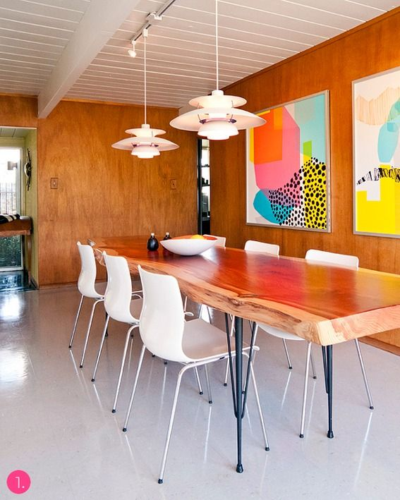 neutral interiors with colorful art.