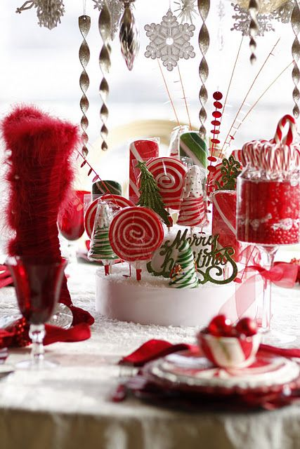 Mrs Claus Candy Table Christmas Centerpieces Diy Christmas Decorations Easy Christmas Decorations