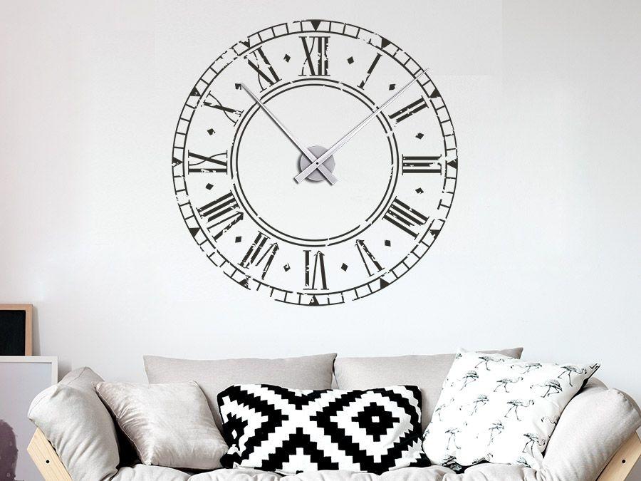 Wandtattoo Vintage Uhr - Wandtattoo Wanduhr Vintage - wanduhren wohnzimmer modern