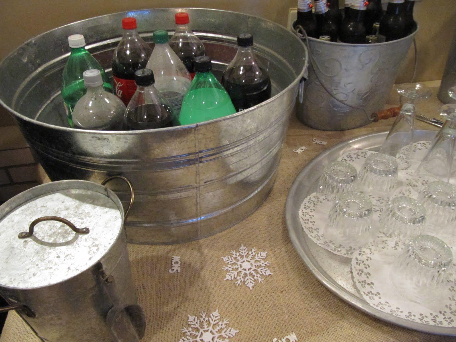 Soda bottles in galvanised tub