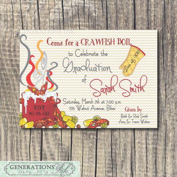 crawfish boil graduation party invitation by generationsink