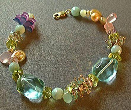 Bracelet, Blue Crystal Quartz, Peridot, Tourmaline, Jade & Freshwater Pearls