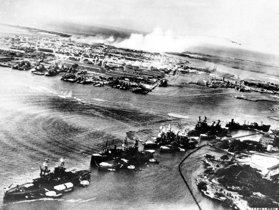 December 7, 1941: This picture, taken by a Japanese photographer, shows how American ships are clustered together before the surprise Japane...