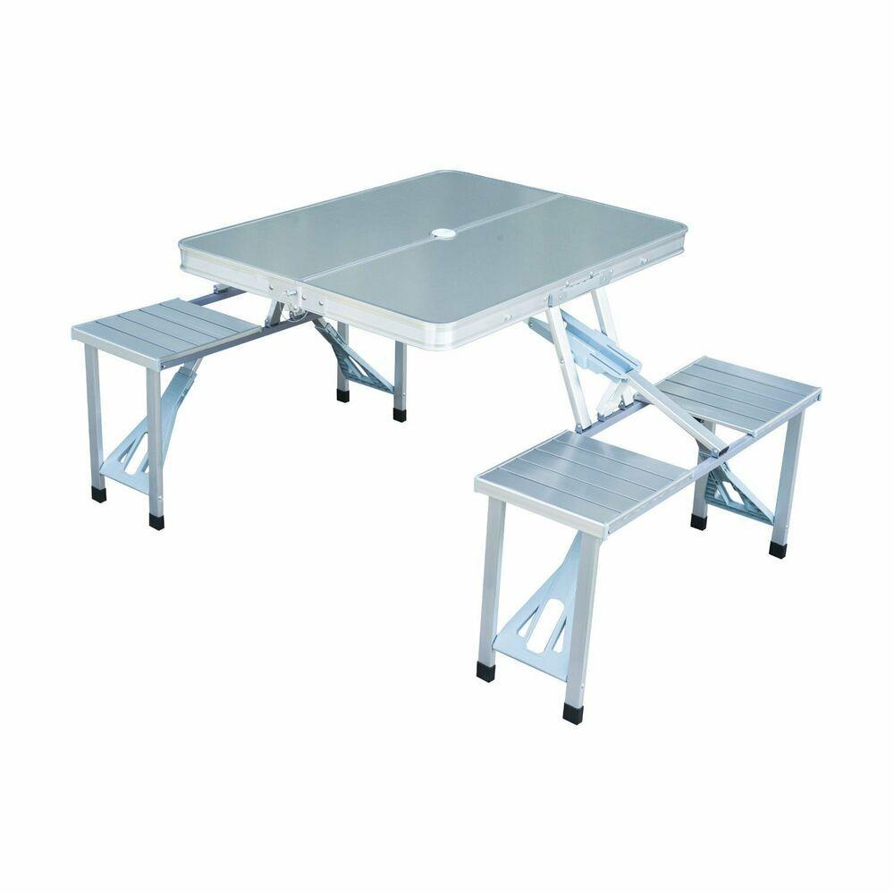 Aluminum Picnic Table With Umbrella Hole Portable Folding