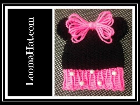 Loom Knit Minnie Mouse Hat On Round Loom Cute Baby Hat With Pom