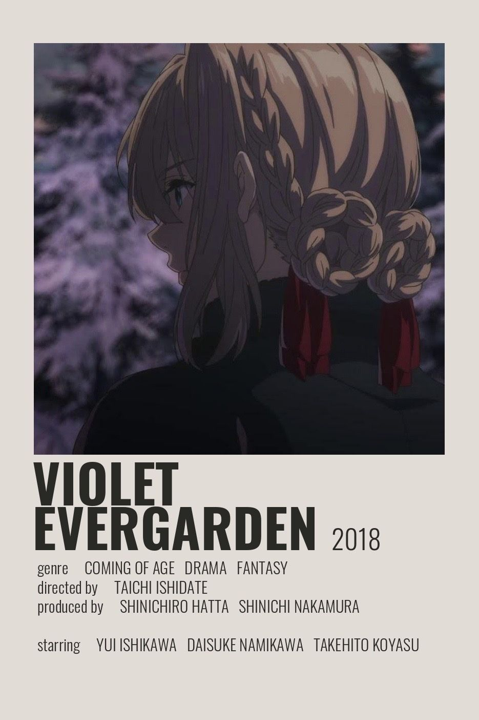 Violet Evergarden Poster by Cindy in 2020 Film posters