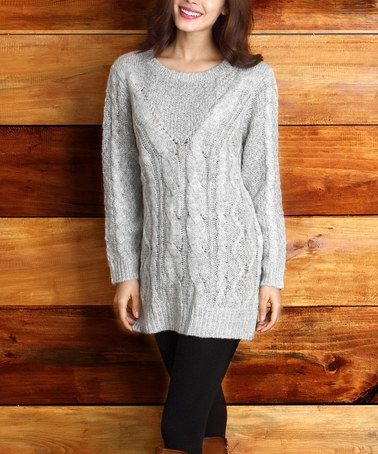 Love this Heather Gray Cable-Knit Sweater on #zulily! #zulilyfinds