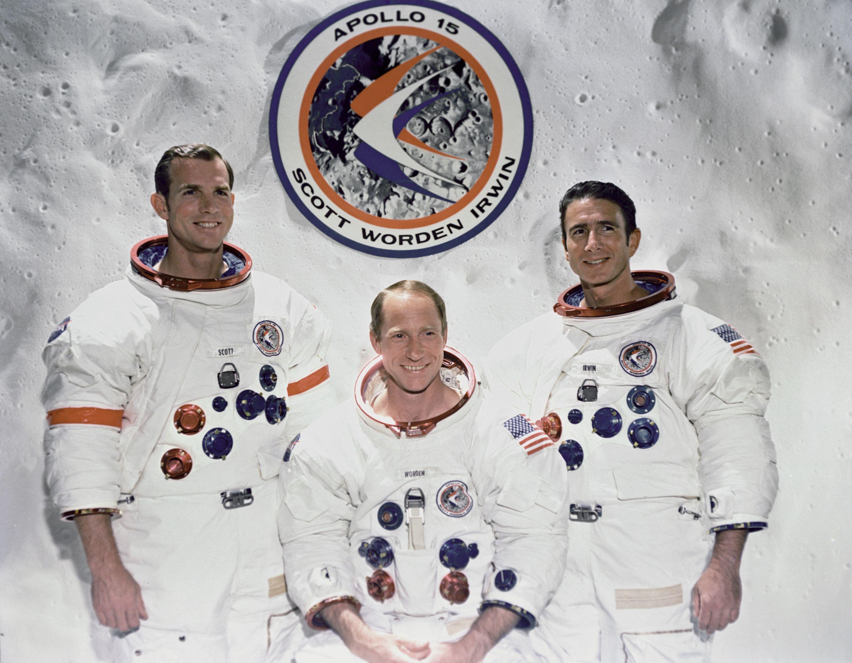Crew of Apollo 15: (L-R) Commander Dave Scott, Al Worden ...