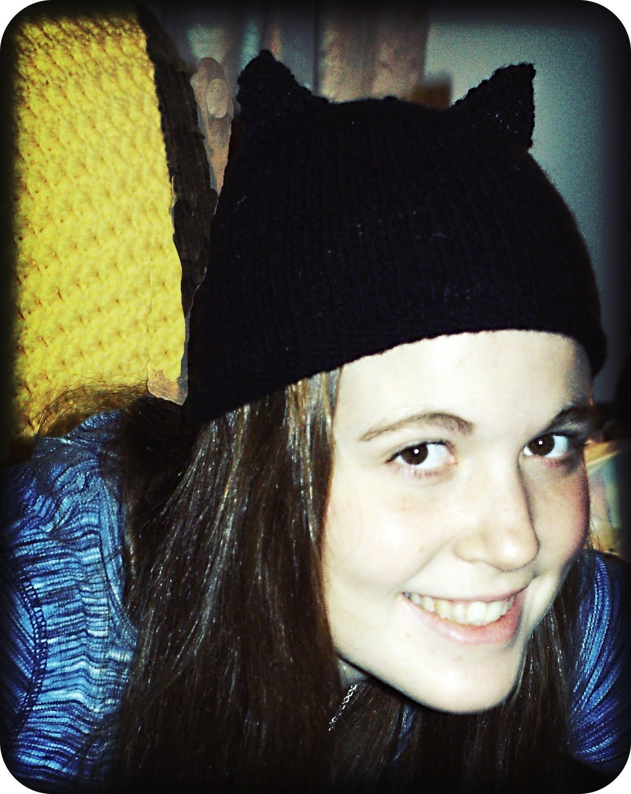 Knit Cat Ear Hat With Pattern — Saved By Love Creations ...