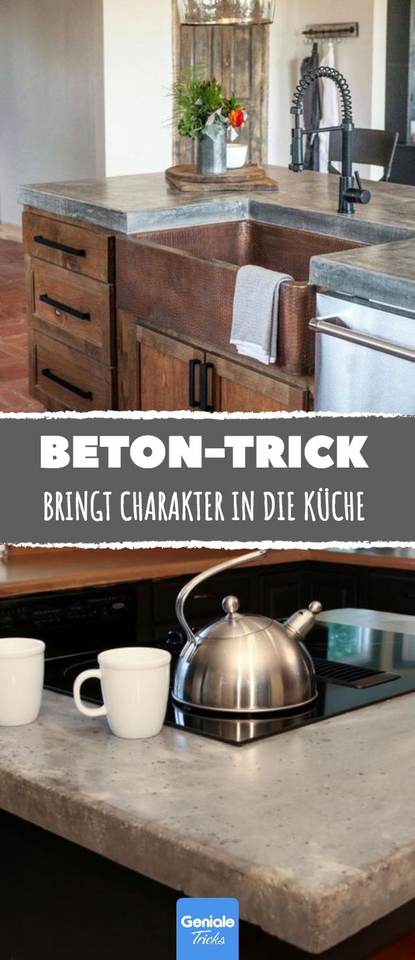 Günstiger Beton-Trick bringt Charakter in die Küche. | Ideen rund ...