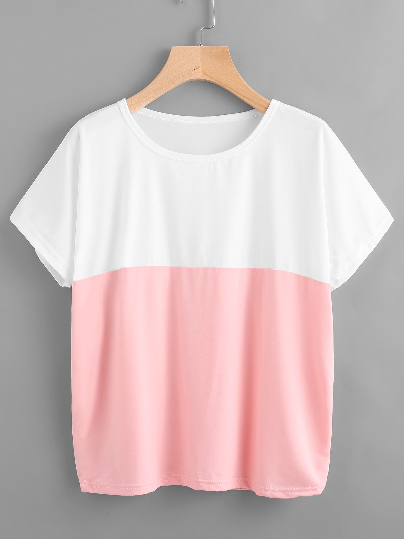 bc3536a06f Shop Color Block Tee online. SheIn offers Color Block Tee & more to fit  your fashionable needs.