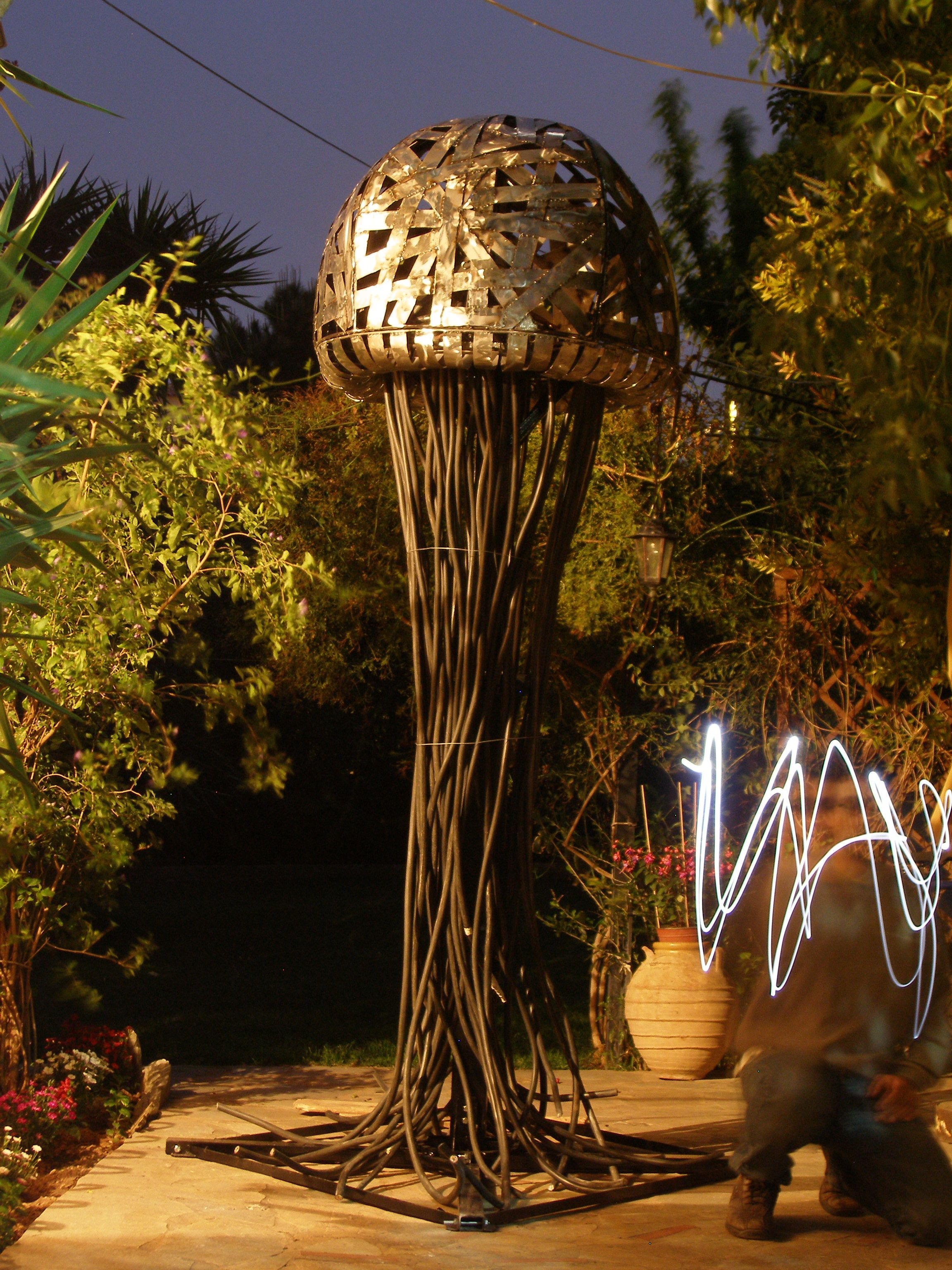 Garden Metal Sculpture Meduse Created By Greek Visual Artist
