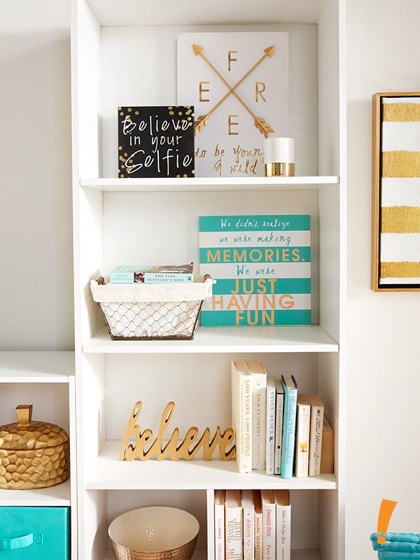 Keep it simple when organizing your shelves for this chic look ...