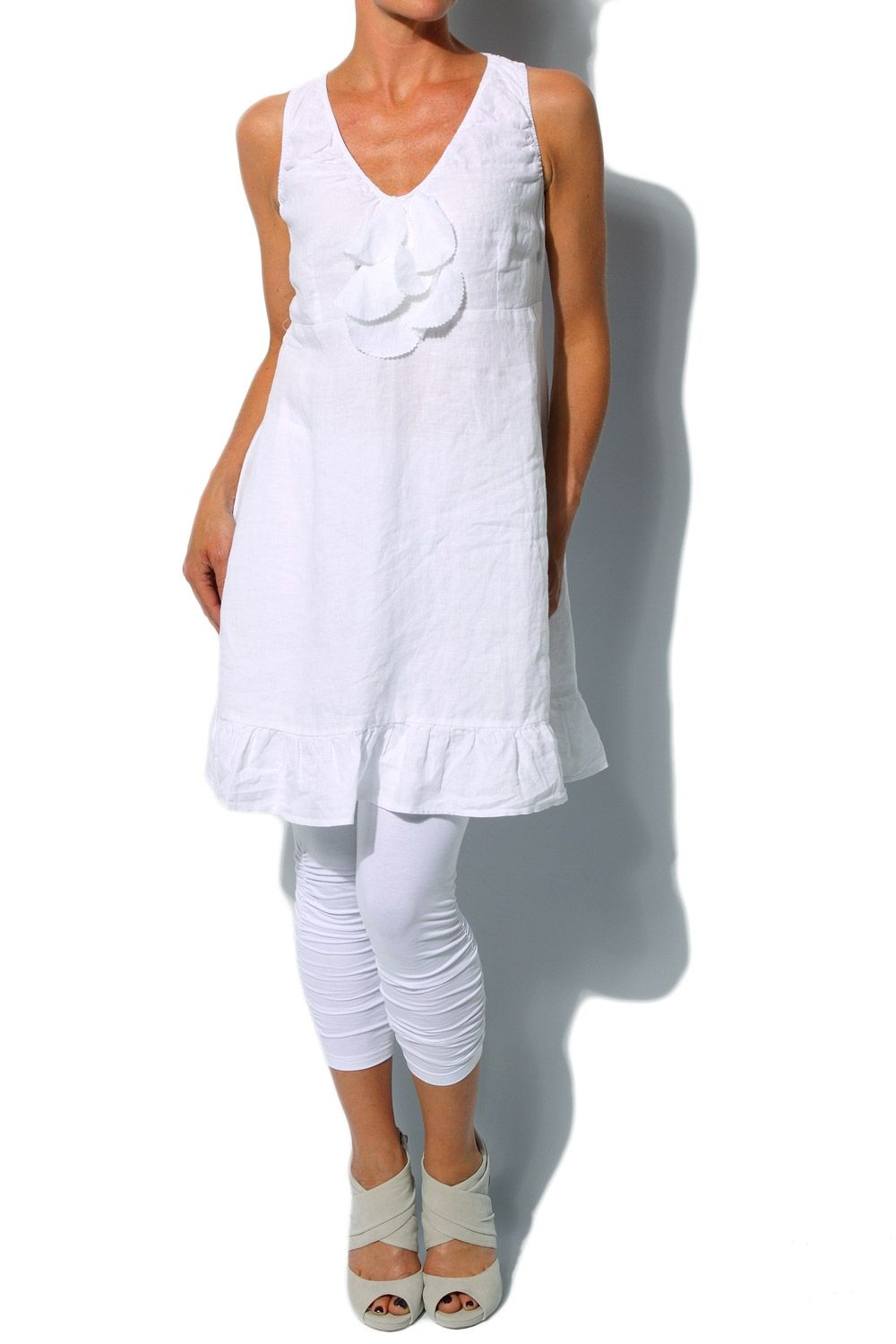 linen smock dresses w/leggings | Avoca Anthology White Linen Smock Sun Dress from Getmyfashion.com. volume starts below bust