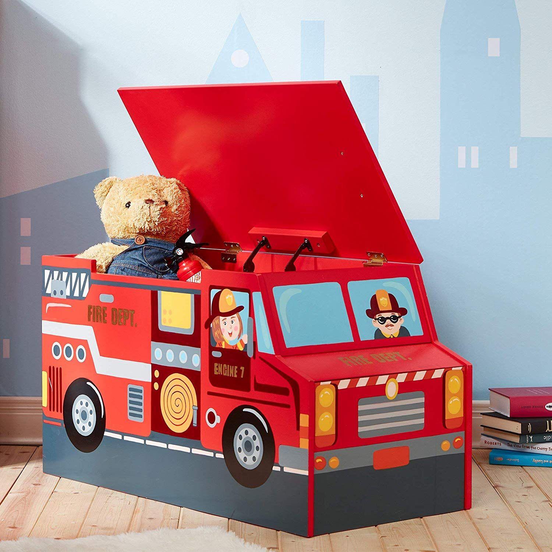 Lil Fire Fighters Feuerwehr Holz Spielzeugkiste Haben Ihre Kinder Ihre Lieblingsspielzeuge Und Bemalte Spielzeugkiste Spielzeugtruhe Kinderzimmer Deko Junge