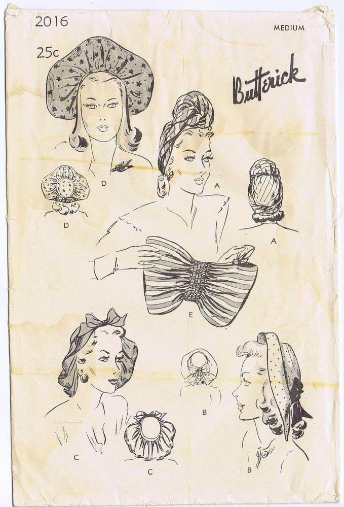 ORIGINAL BUTTERICK Vint SEXY Millinery HAT TURBAN FASCINATOR FABRIC Pattern 2016