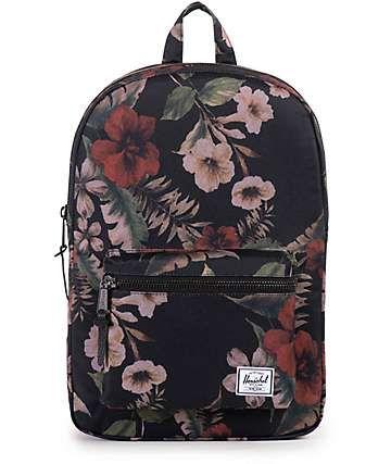 1bb9da5a0ee8 Herschel Supply Settlement Mid Black   Hawaiian Floral Print 17L Backpack