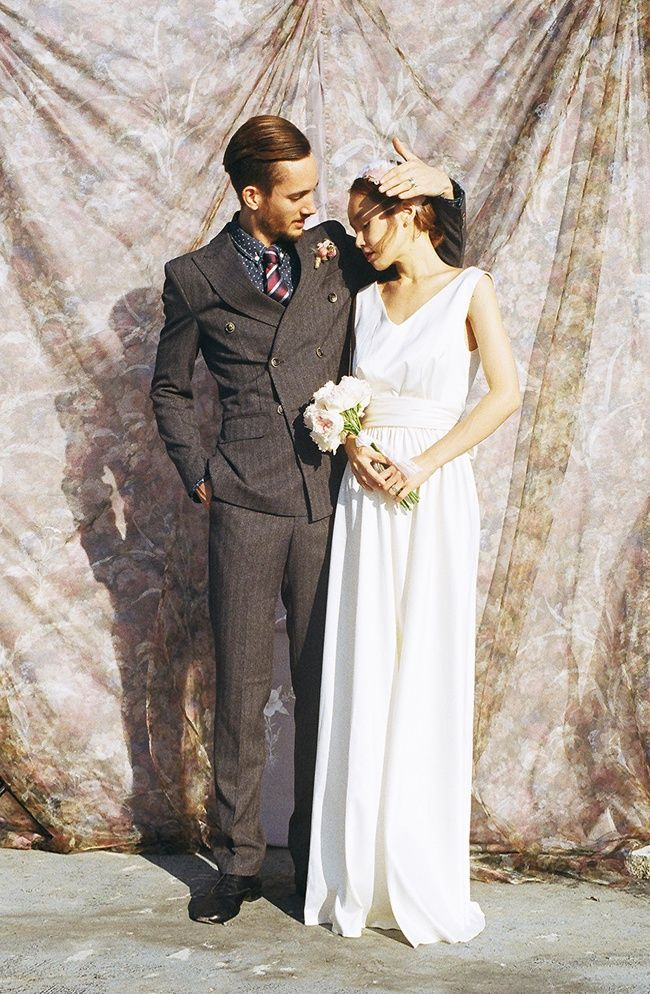 classic brown suit men\'s fall wedding dress shoot flowers ...