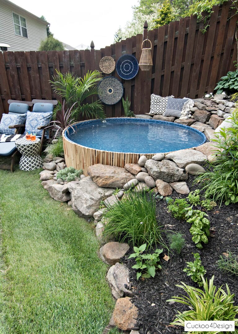 Our New Stock Tank Swimming Pool In Our Sloped Yard Small Yard