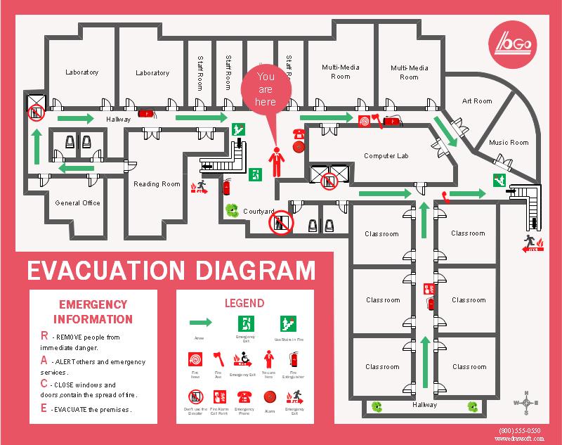 学校避難経路図 プレゼンテーション デザイン フロアプラン 案内図