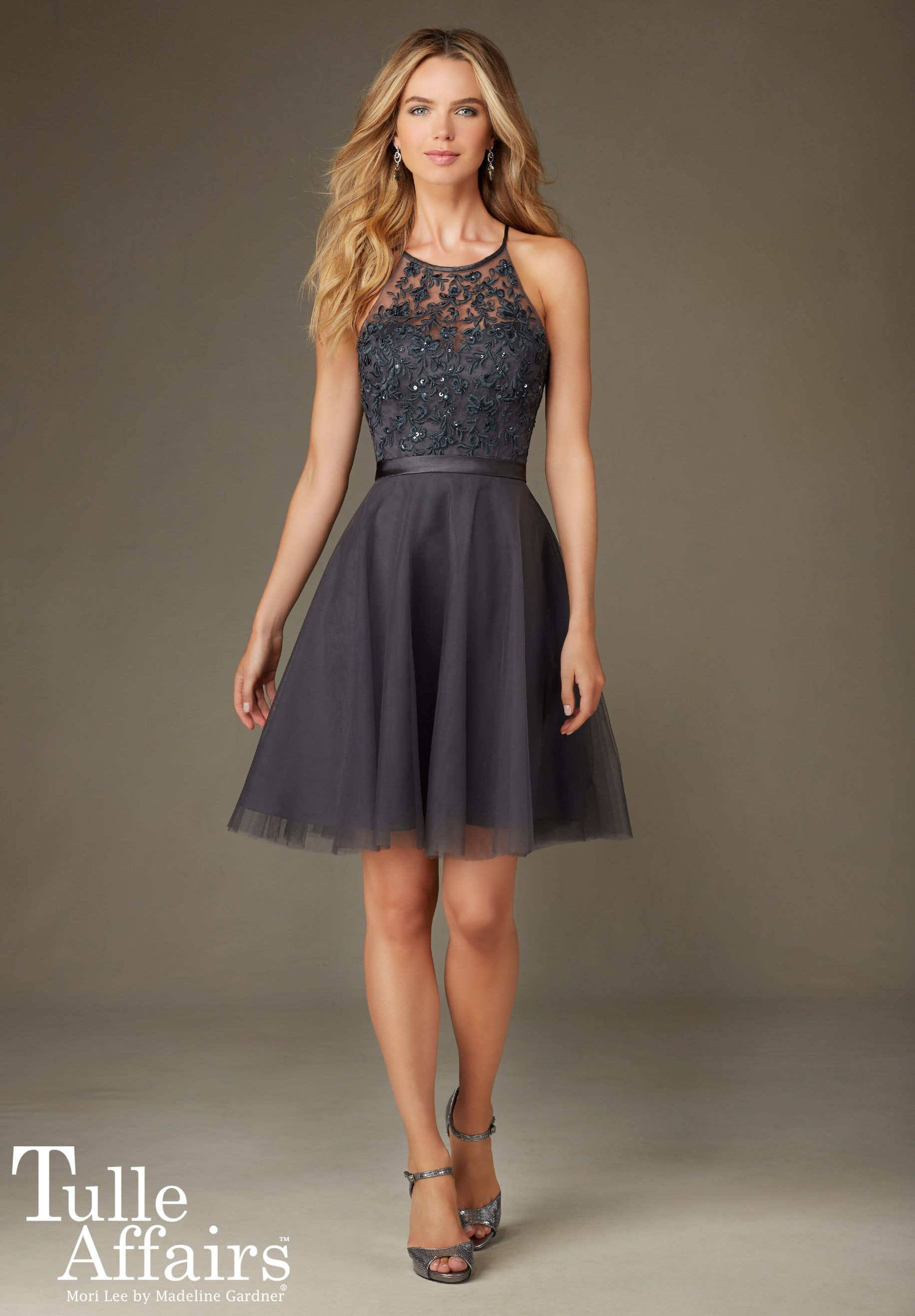 Short tulle bridesmaid dress with beaded embroidery in