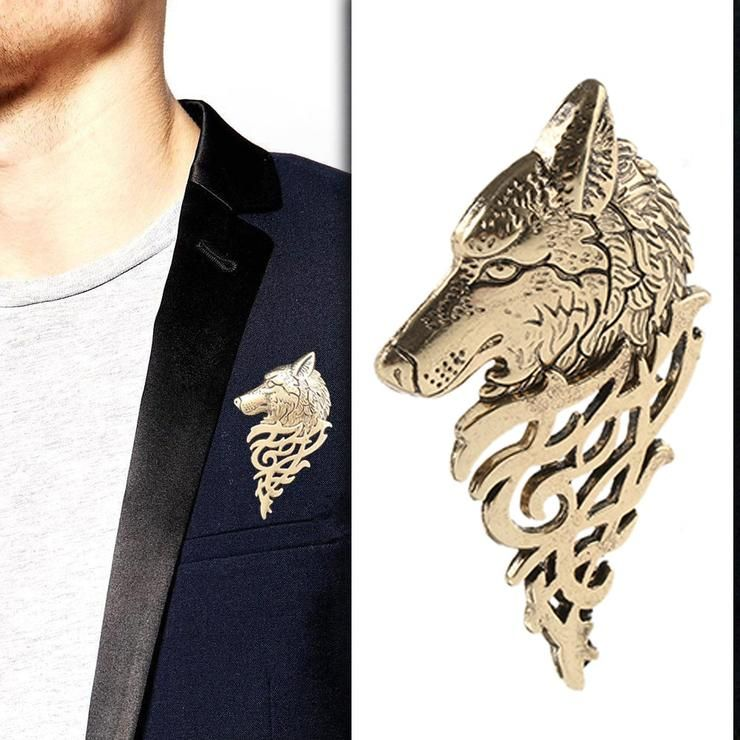 Vintage Bronze Wolf Badge Lapel Pin Broach Collar Mens Jewelry Costume Accessory