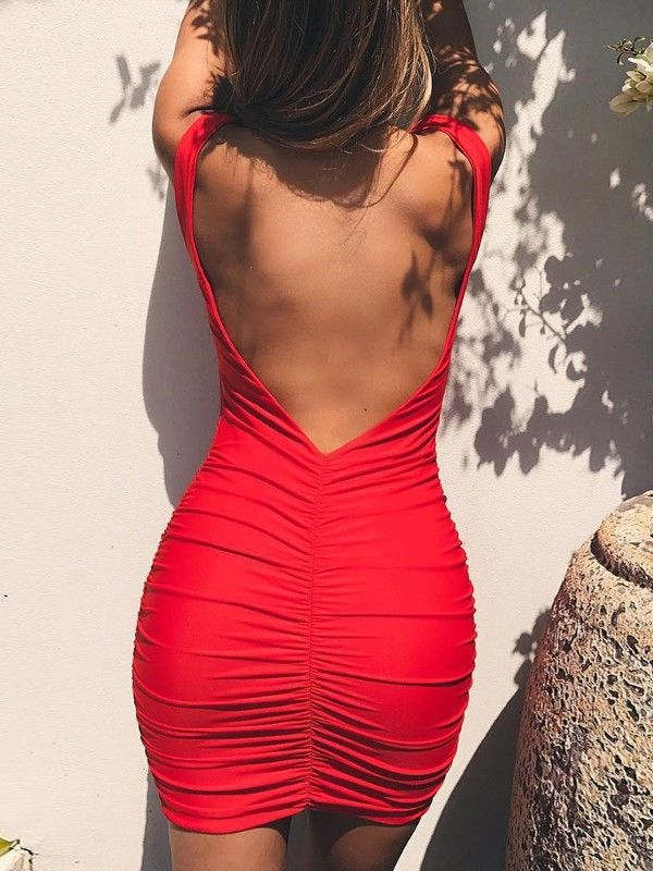 c809f2b24798 Low Cut Shirring Backless Bodycon Dress