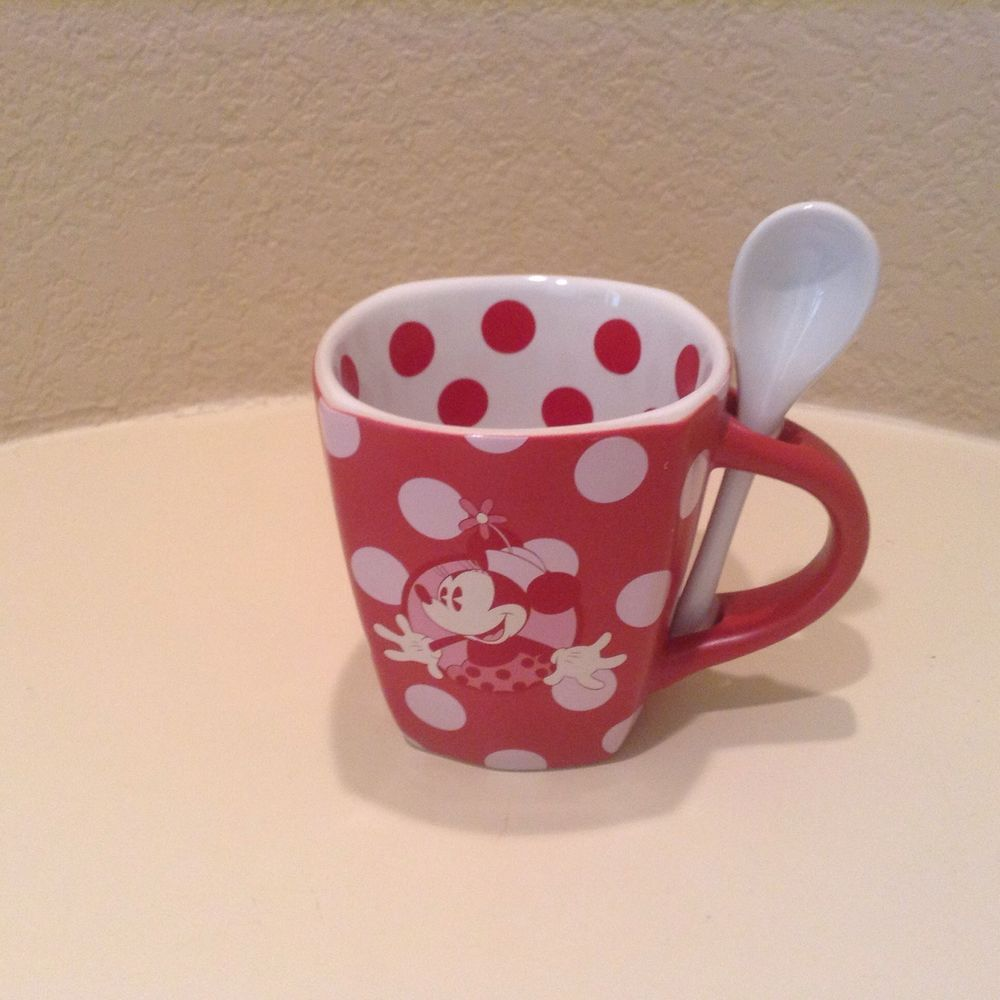 Red And White Polka Dots Minnie Mouse Disney Mug With Spoon | Nan\'s ...