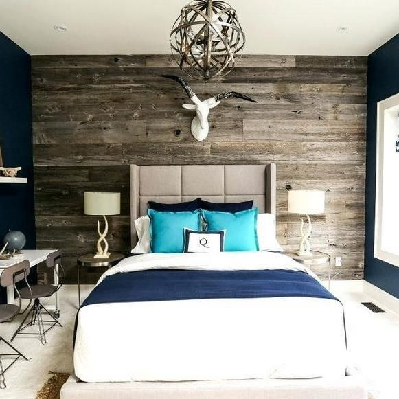 Navy Accent Wall Behind Tv: 30+Choosing Good Wallpaper Accent Wall Bedroom Grey Paint