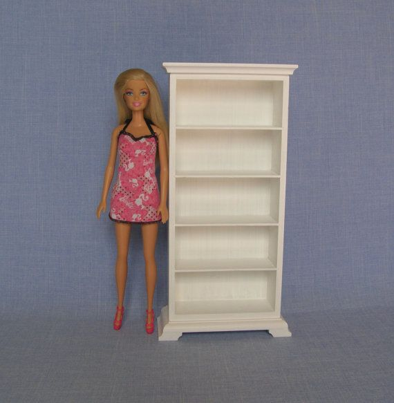 1 6 scale white bookcase for 12 inch doll barbie doll house furniture ma stab barbie und. Black Bedroom Furniture Sets. Home Design Ideas