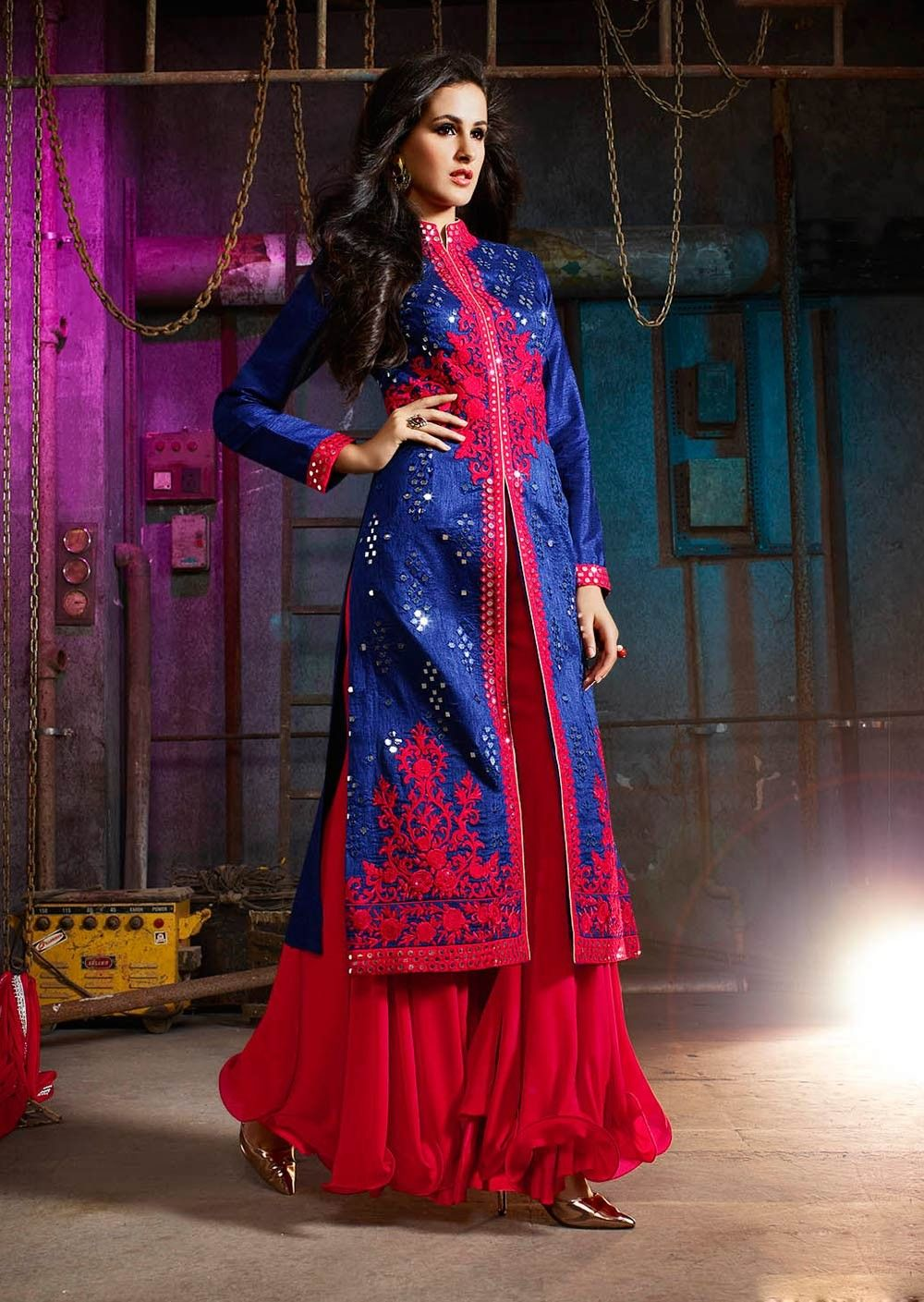 Blue designer wear Indian wedding palazzo suit in art silk ...