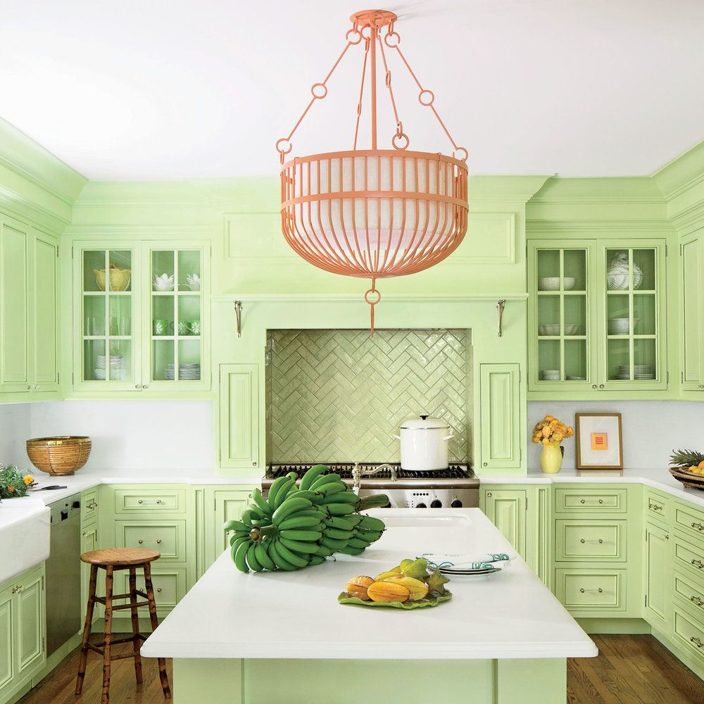 Colorful Palm Beach House Tour Light Green Kitchen Green Kitchen Cabinets Beach Kitchens