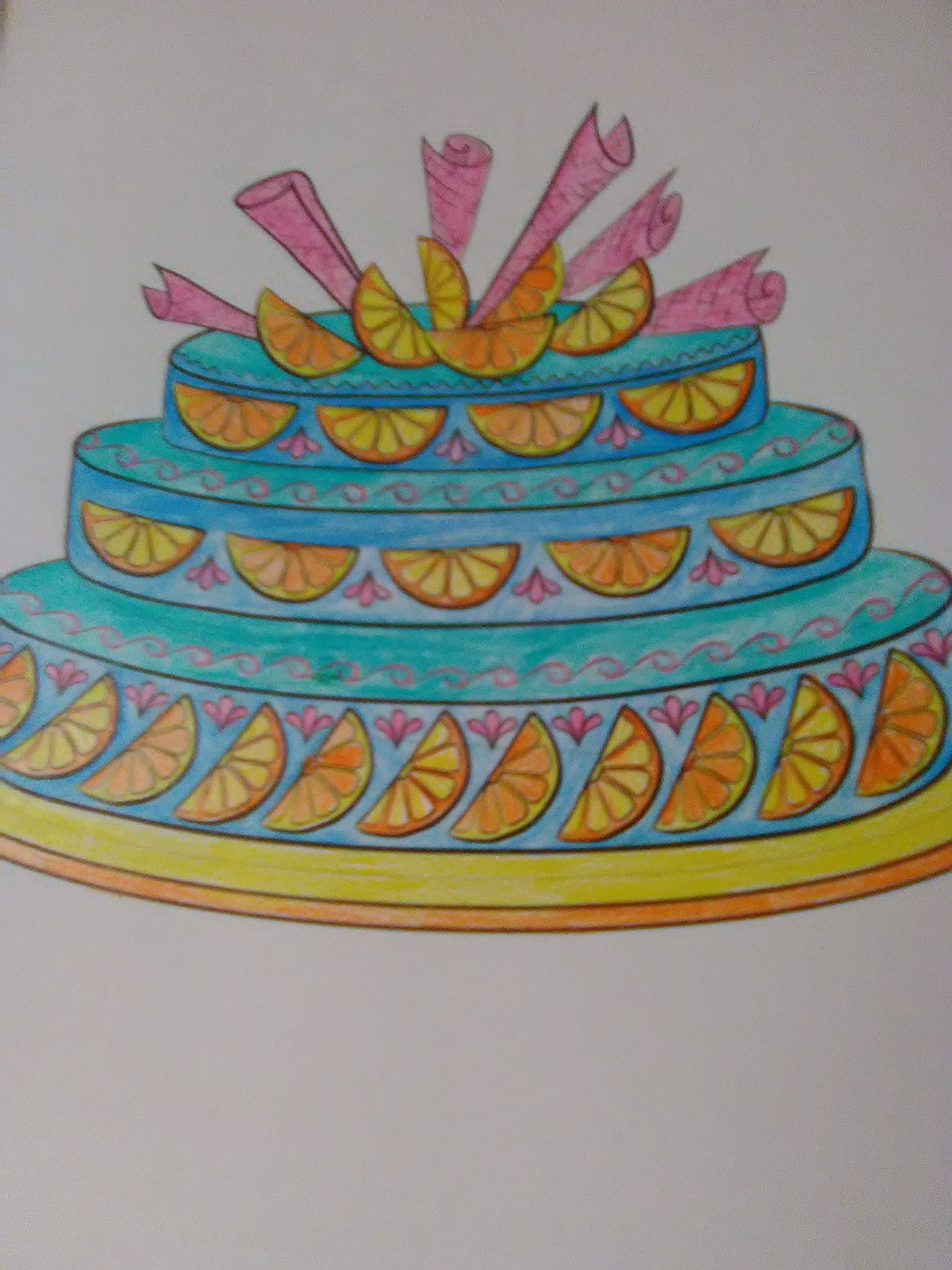 Cake!😋 | Color | Cake, Shading drawing, Desserts