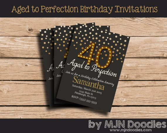 40th Birthday Invitations Aged to Perfection 50th Birthday