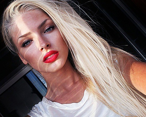 Red Lips Blonde Hair Blonde Hair Red Lips Hair Beauty Beautiful Makeup