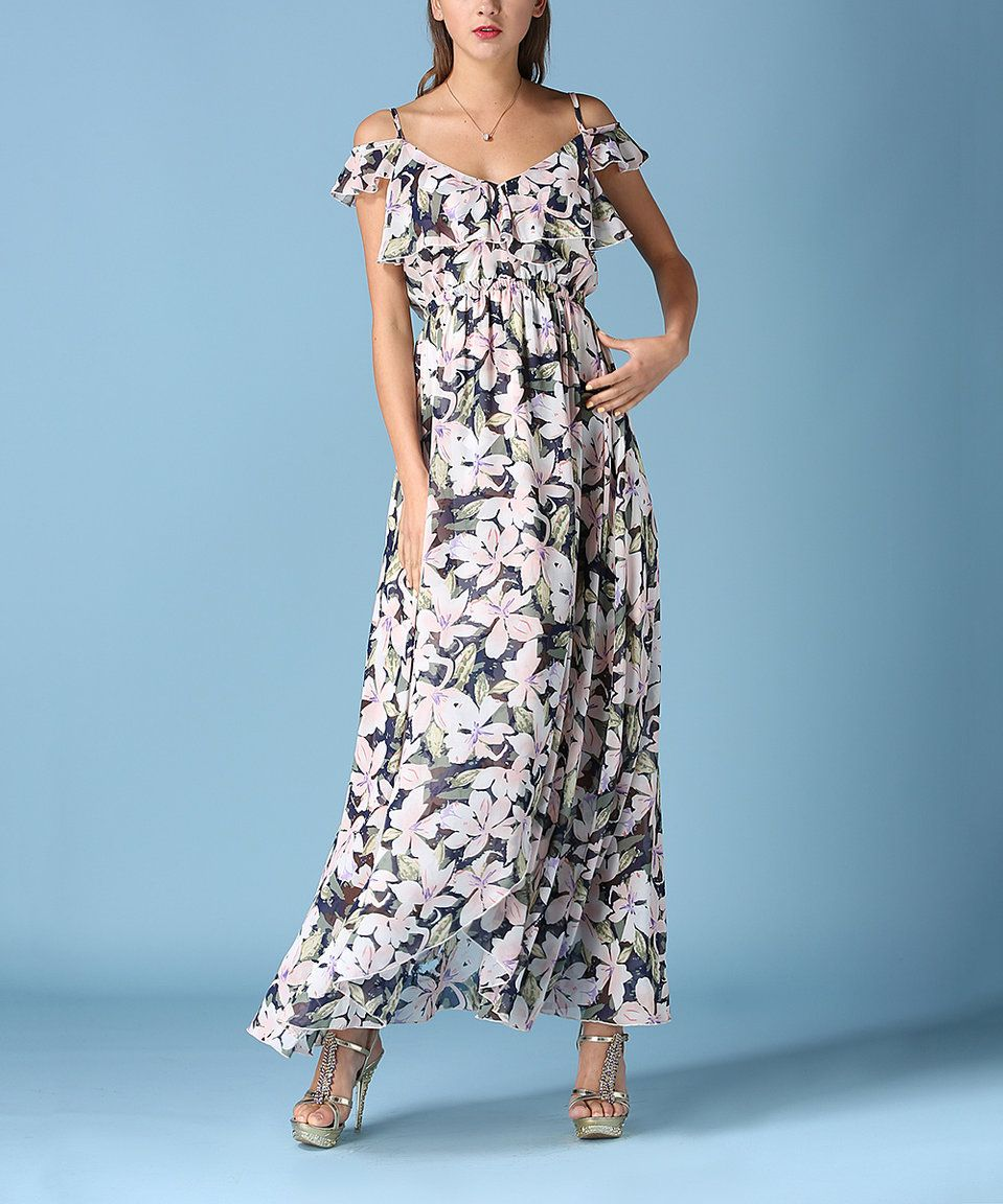 6218f7b6b852 Take a look at this Coeur de Vague White Floral Ruffle Off-Shoulder Maxi  Dress today!