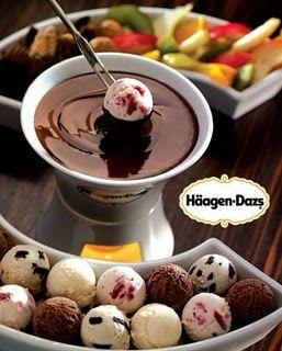 Ice cream Fondue!  Tiny scoops of ice cream (use melon baller) dipped in hot fudge.