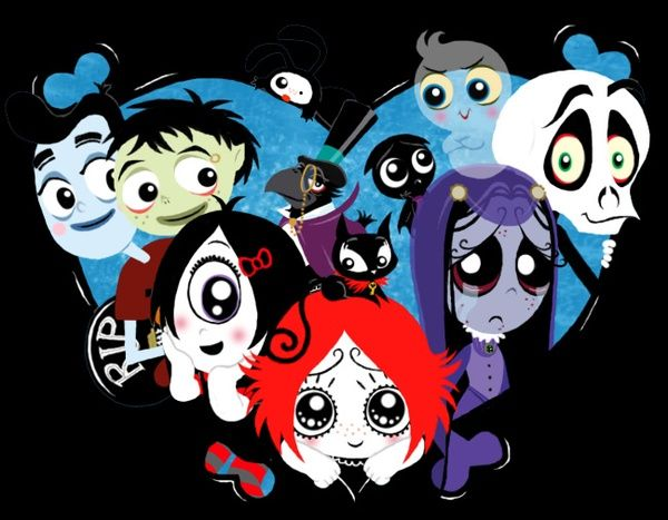 Ruby Gloom cartoon: Ruby, iris, misery, skull boy, Frank, Lynn, Doom
