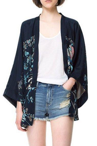 Vintage Printing Loose Kimono