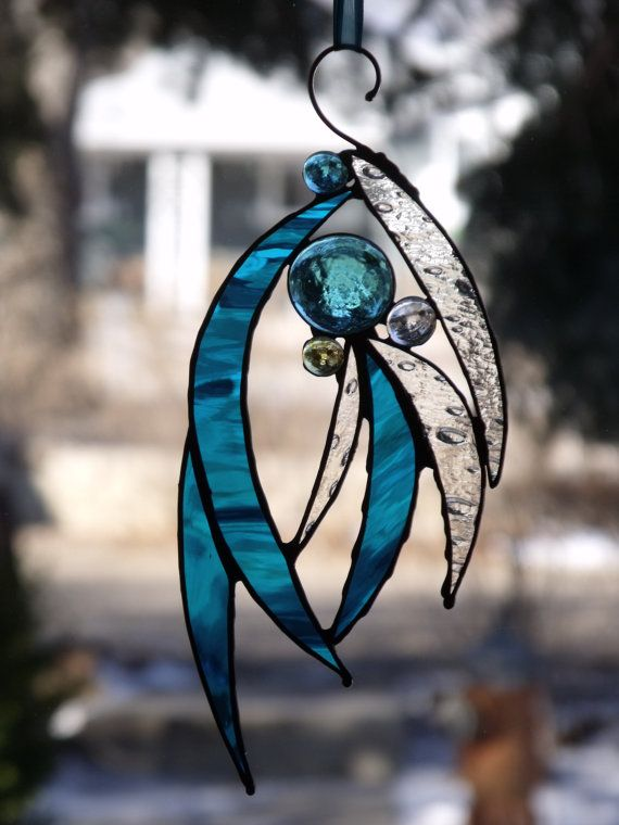 Stained Glass Suncatcher Abstract Fireworks and Feathers Aqua Turquoise