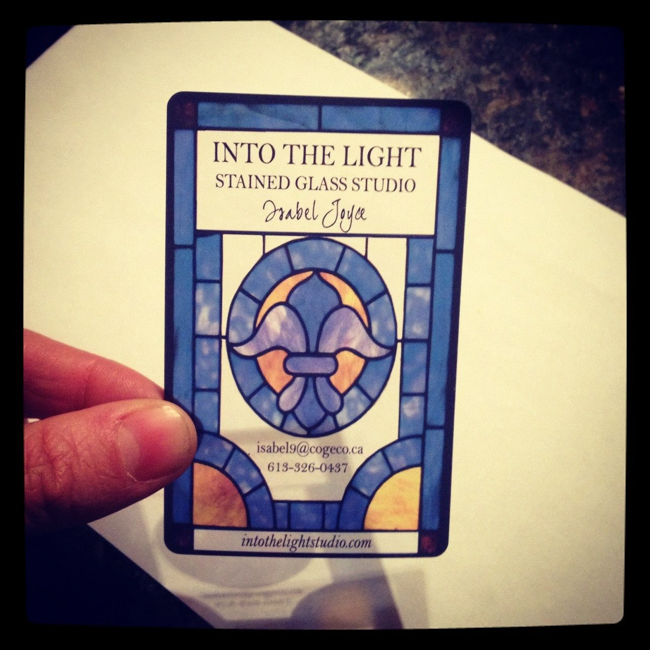 Business card I designed for my moms stained glass company. Printed ...