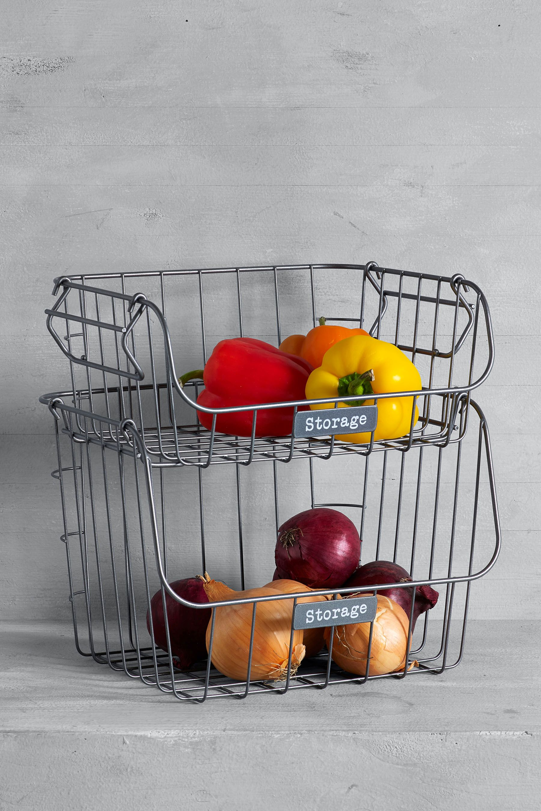 Charmant Next Galvanised 2 Tier Fruit And Veg Holder   Grey