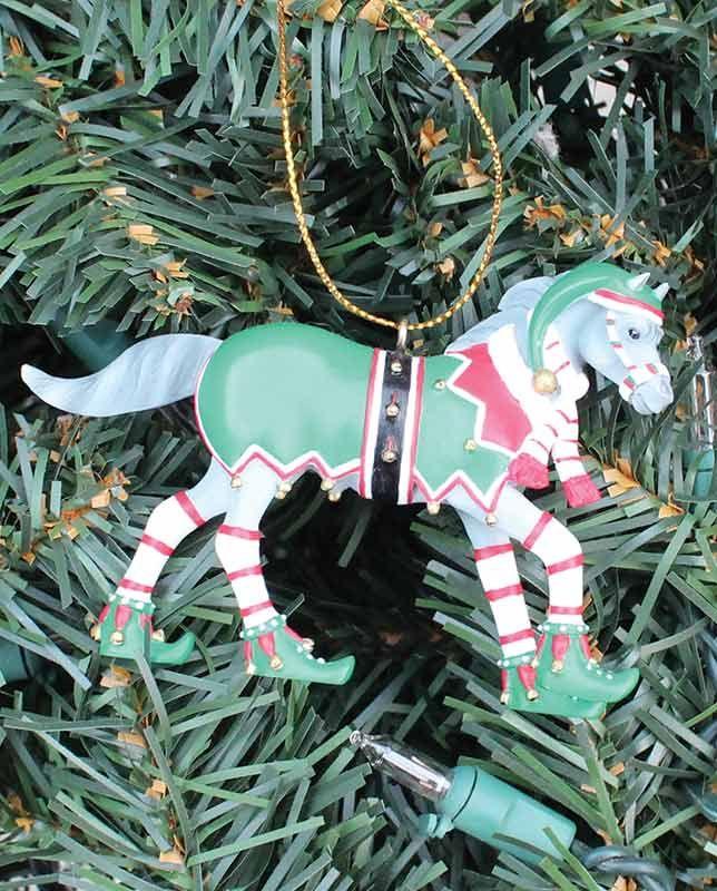 trail of painted ponies bells n elves christmas ornament