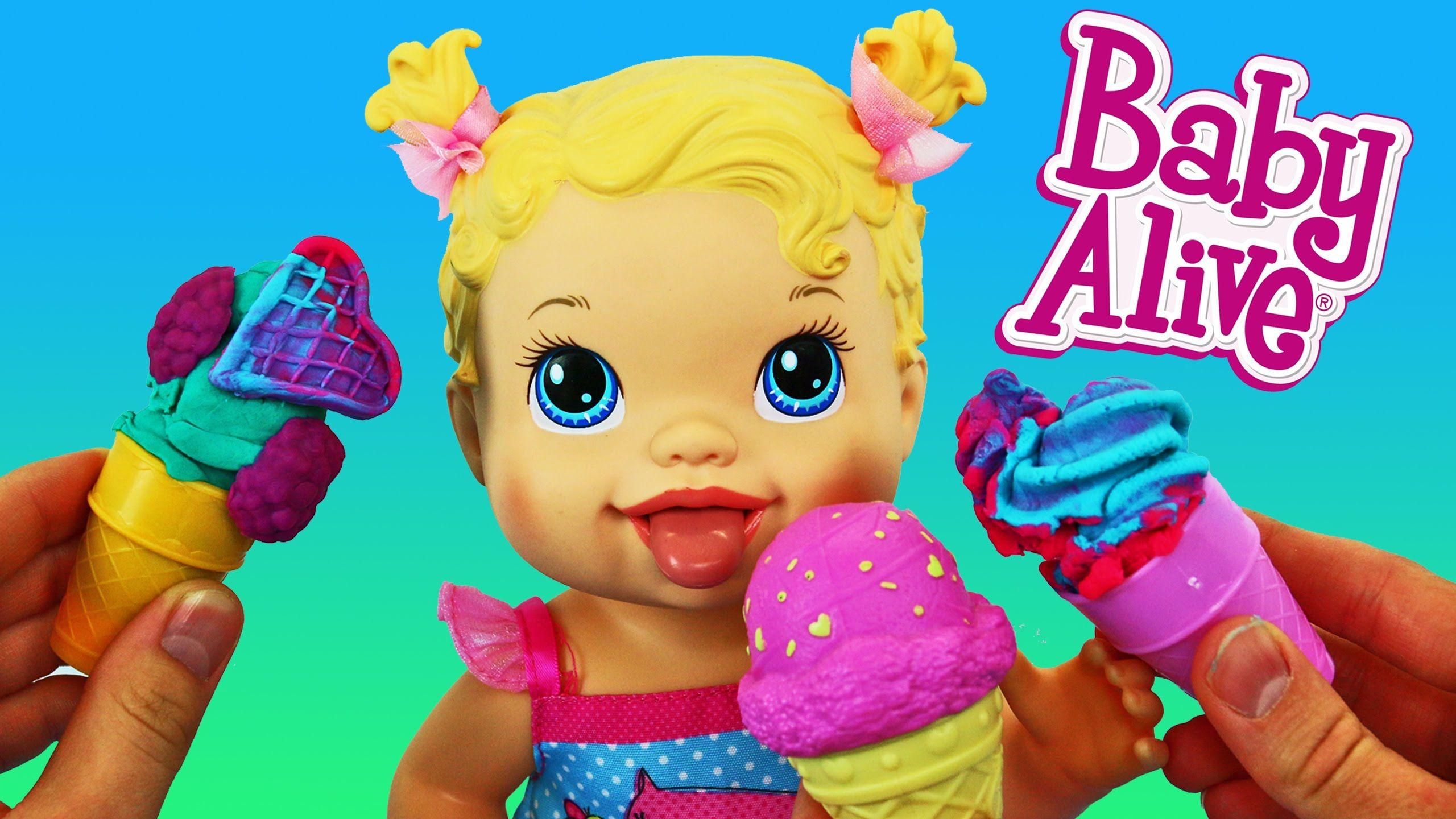 Baby Alive Yummy Treat Baby Doll Licks Eats Play Doh Ice Cream Cones By Disneycartoys Baby Alive Baby Dolls Play Doh Ice Cream