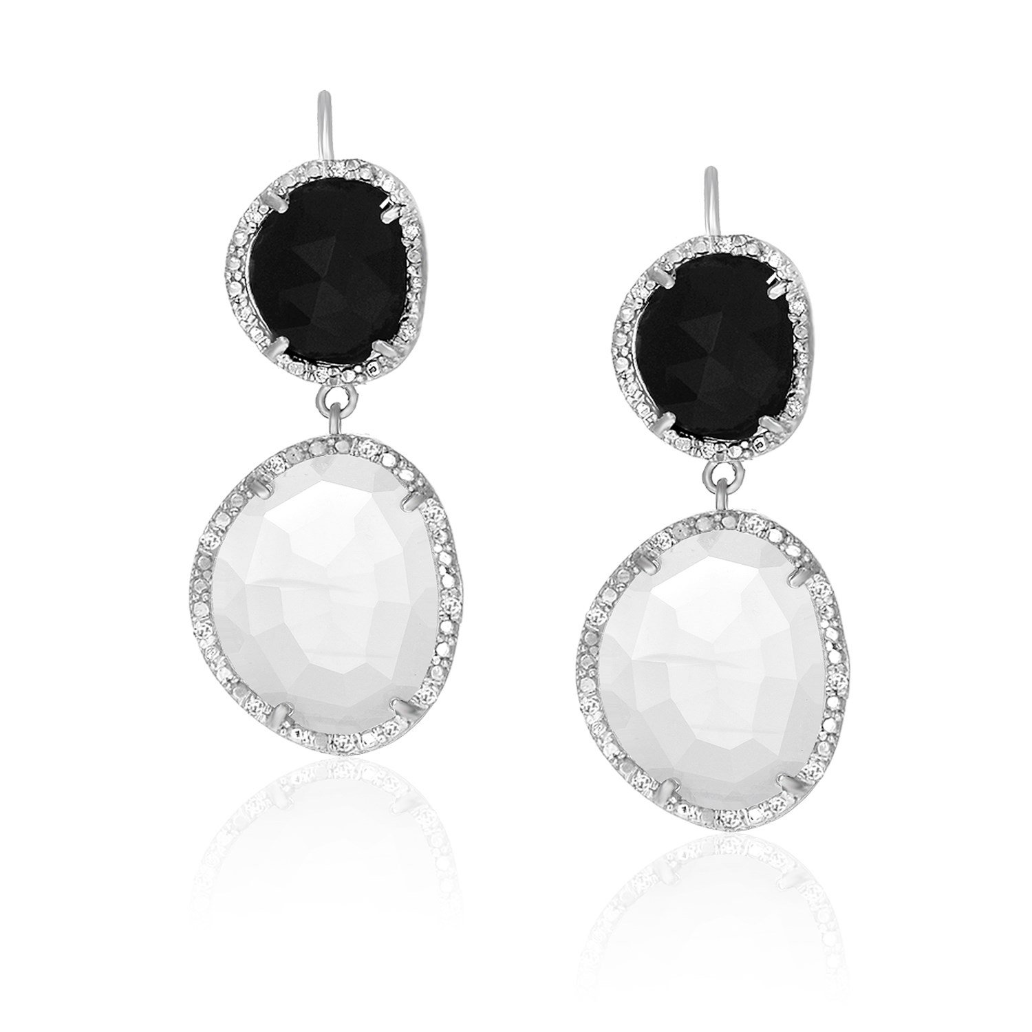 jewelry overstock earrings onyx free product today sterling black shipping silver watches miadora